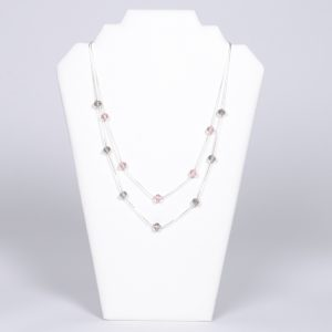 Transparent and pink crystalls double short necklace