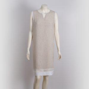 Vestido natural con vivos blancos