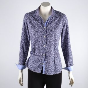 Lilac and gray print shirt blouse