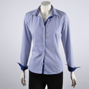 White and blue print shirt blouse